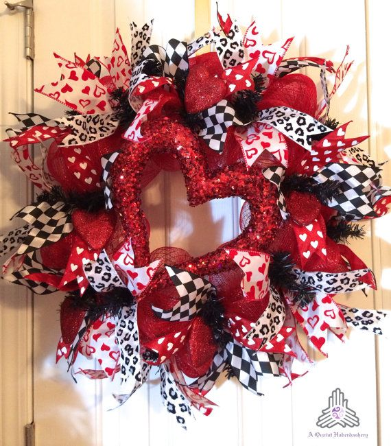 "Valentine Day ""Heart"" Deco Mesh Wreath on Etsy, $85.00"