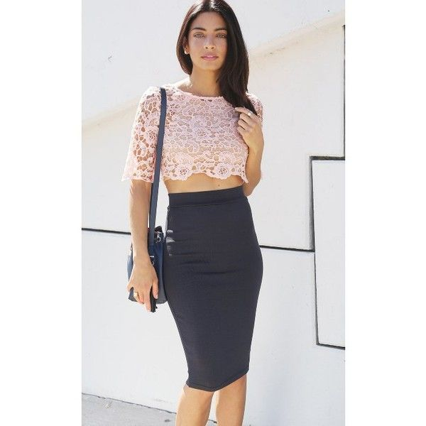 Concrete Runway Essential Charcoal Midi Pencil Skirt ($45) ❤ liked on Polyvore…