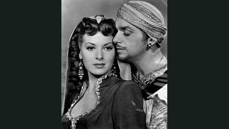 "Maureen O'Hara and Douglas Fairbanks Jr. in 1947's ""Sinbad the Sailor."""
