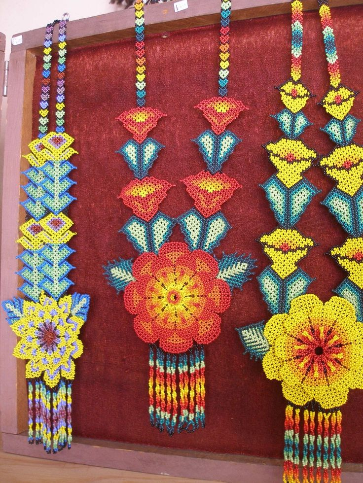 Huichol Art beaded flower necklaces