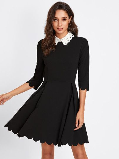 d715588432 Contrast Eyelet Embroidered Collar Scalloped Dress -SheIn(Sheinside ...