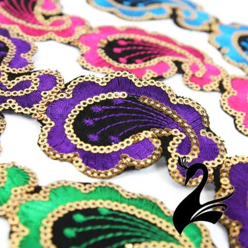 Sequin-Trim-Iron-On-Embroidered-Paisley-4-5cm-Style-5111-Price-per-1-2m-lengt