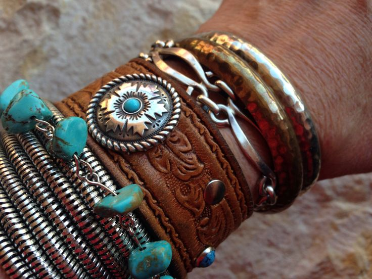 hand tooled leather cuff bracelet with turquoise and by