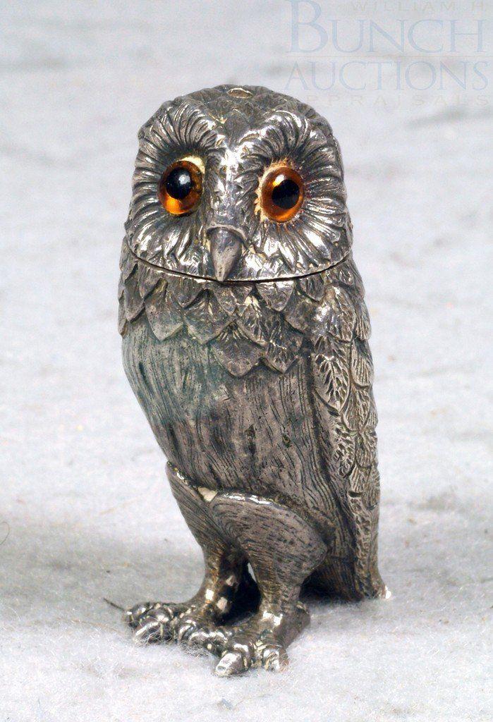 Tiffany & Co sterling silver owl shaker, glass eyes