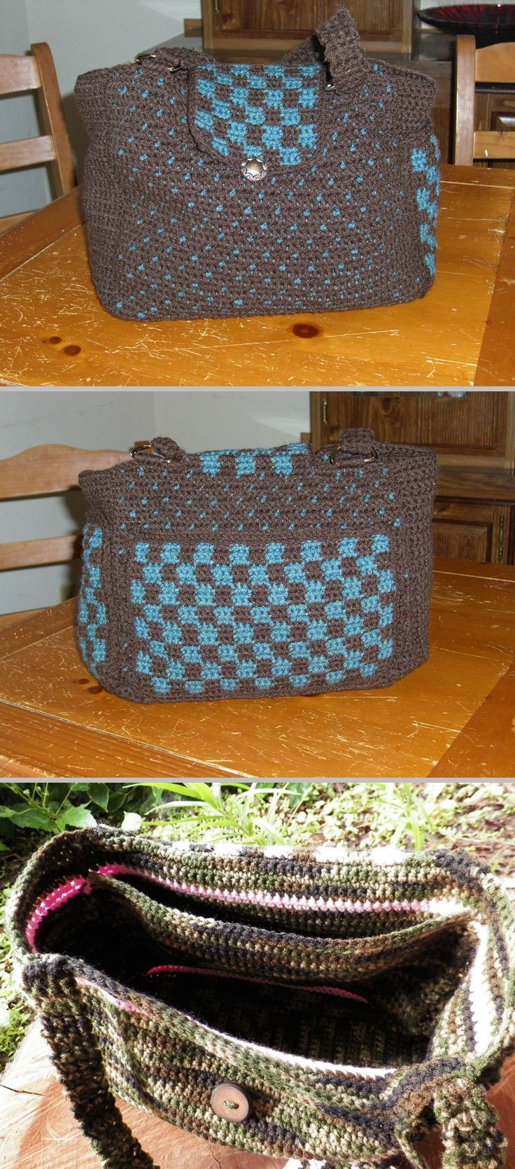"Everyday Tote, free pattern from Red Heart. Measures 10"" x 12"", has two outside pockets. Could add an inside pocket too (bottom pic). Takes 4 skeins RHSS, hook size 'G'. Pics from Ravelry Project Gallery. . . . . ღTrish W ~ http://www.pinterest.com/trishw/ . . . . #crochet #purse #tote"