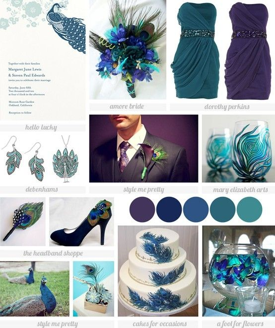 Sophisticated peacock wedding inspiration...love the mix of color for the bridesmaid dresses