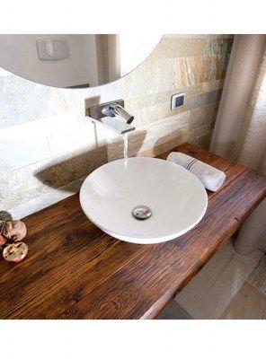 mensola piano lavabo sospeso in legno di abete 140x40x5