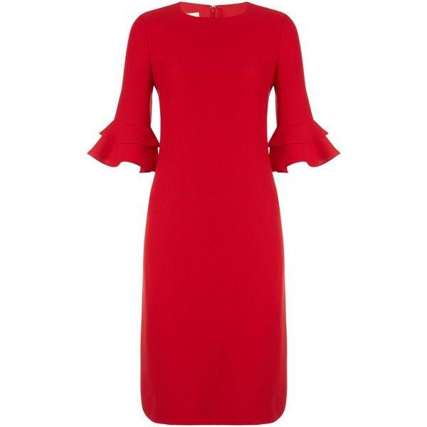 Hobbs Frances Dress ($135) ❤ liked on Polyvore featuring dresses, long-sleeve mini dresses, midi dresses, red midi dress, maxi dresses and red knee length dress