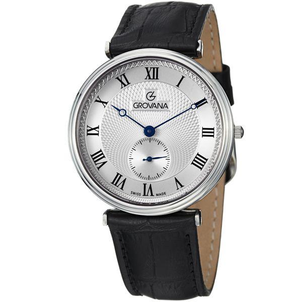 Men's Silver Dial Black Leather - Grovana Watch