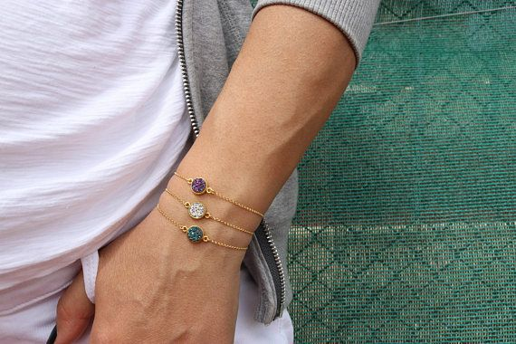 Minimal Stone Bracelets, Round Stone Bracelets, Colorful Bracelets, Valentine's Day Gift, Made from Gold Plated 24k in Sterling Silver 925.
