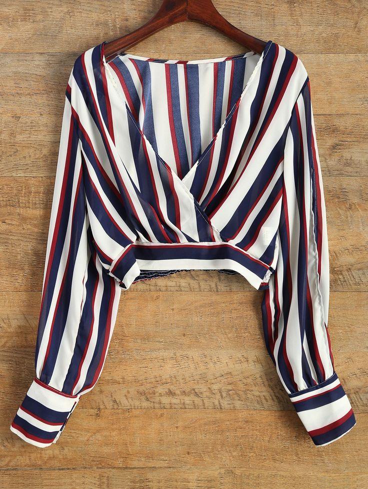 $17.99 Striped Slit Sleeve Cropped Surplice Blouse STRIPE: Blouses | ZAFUL