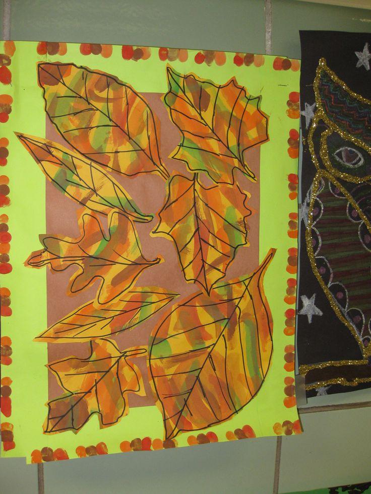 """""""Falling leaf collage"""" grade 3, splatter painting, fingerprint collage"""