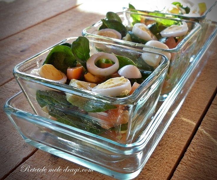 Salata de spanac cu oua de prepelita   Retetele Mele Dragi