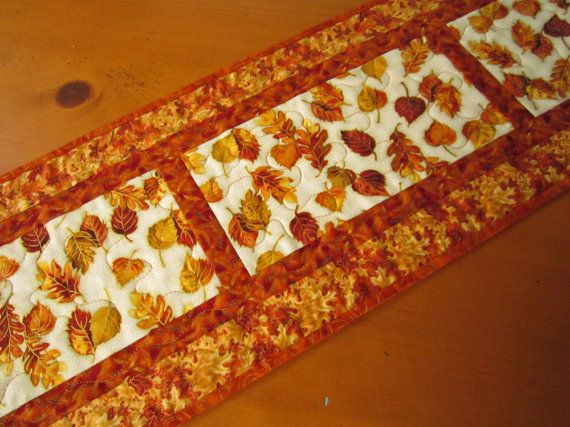 Fall Handmade Quilted Autumn Table Runner by PatchworkMountain, $38.00