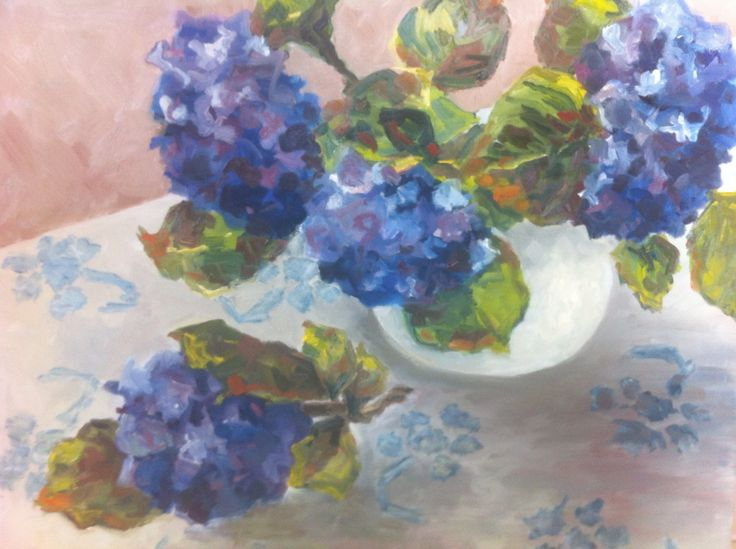 """Sydney Summer Bouquet"" Oil on canvas, 760 x 610 mm. Loose, contemporary realism. Painted alla prima in my studio one afternoon. A freshly-picked bunch of my homegrown hydrangeas, arranged casually on my favourite blue and white tablecloth."