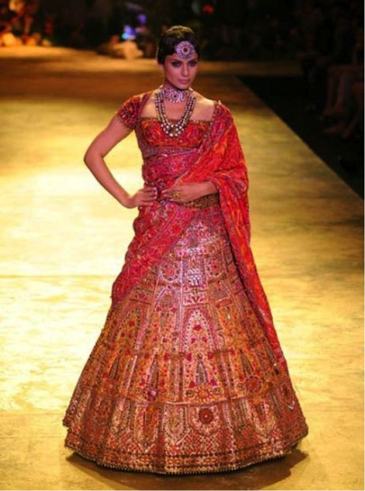 Bridal Lehengas by Ritu Kumar | Unique Red Wedding Lehenga by Ritu Kumar