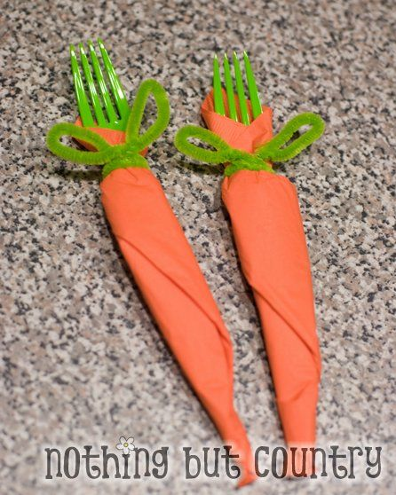 Carrot Napkins - orange napkins + green pipe cleaner + green fork = Easter fun  Change colors for other parties.  Blue ribbons, paper grad hats etc.