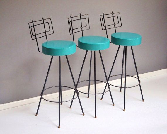 Mid-Century Swivel Bar Stools  Atomic Turquoise by thewhitepepper