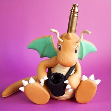 Dragonite Pipe / MADE to ORDER / Pokemon / Polymer Clay Sculpture / Tobacco Hand Pipe