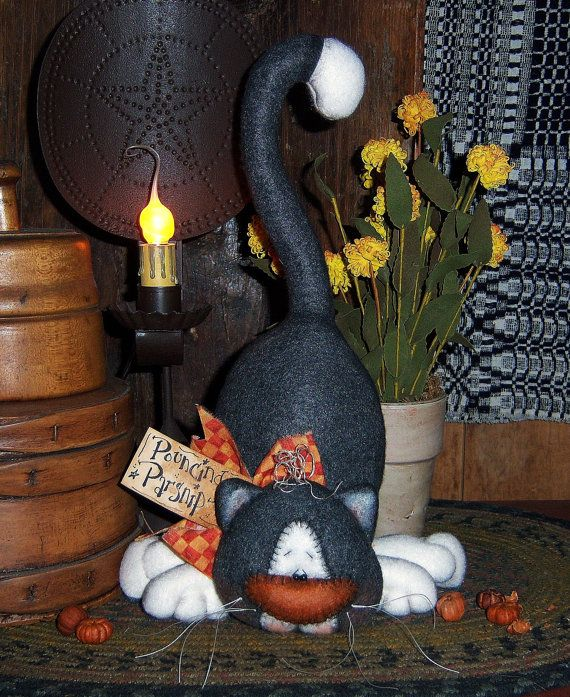 Primitive Halloween Black Cat Kitten 12 Fall Doll por pattisratties
