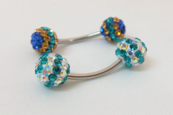 Naval Rings - Tiny Belly Rings With Blue, Gold And Clear -3495