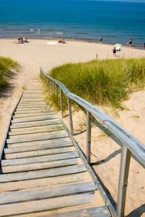 The stairs to the beach at Silver Lake Sand Dunes