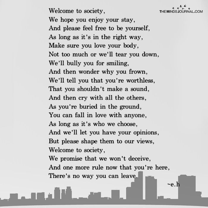 Welcome To Society Society Quotes Poems About Society