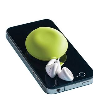 Macaroon Earbud Holder    Attach this silicone suction cup to your smartphone and you'll be able to wrap headphones around this colorful gadget to keep earbuds tangle-free. Available in white, pink, and green.    To buy: $4, containerstore.com.