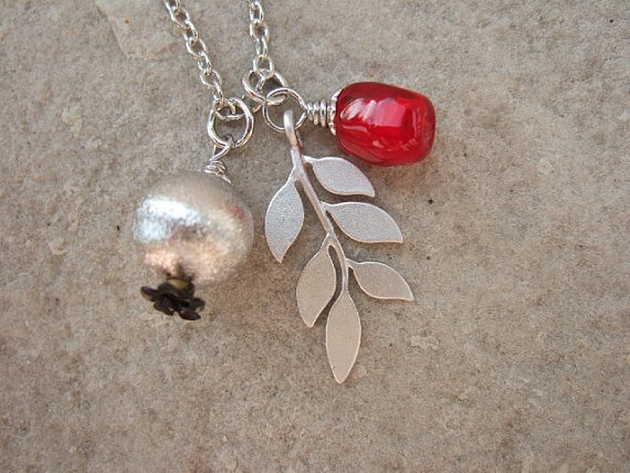 Pomegranate Pomegranate Seed and Silver Leaf by sweetpomegranate, $36.00