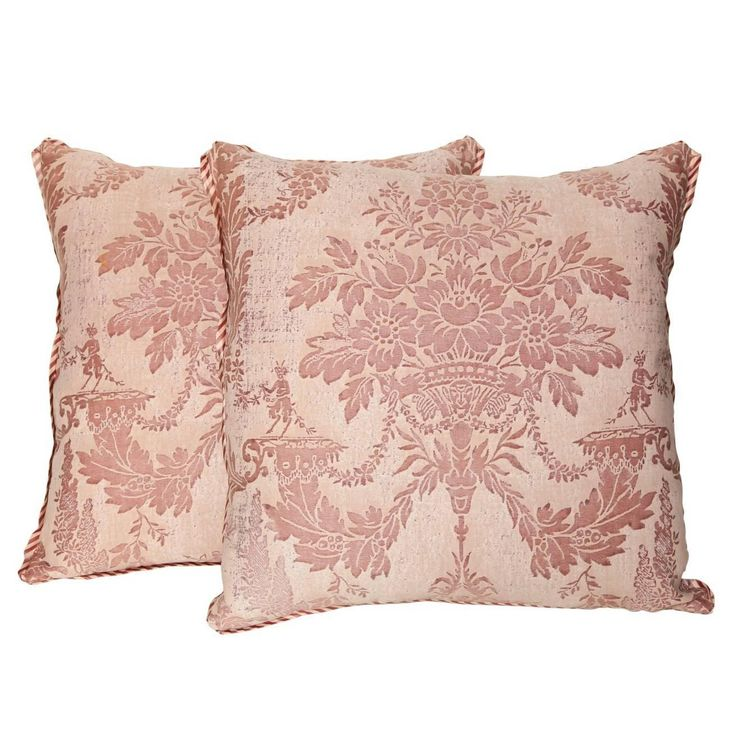 Pair of Vintage Fortuny Fabric Cushions | From a unique collection of antique and modern pillows and throws at https://www.1stdibs.com/furniture/more-furniture-collectibles/pillows-throws/