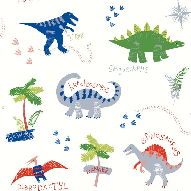 Dino Doodles is a fun children's dinosaur wallpaper from the Arthouse imagine collection. Quirky colourful dinosaurs on a fresh white background with metallic highlights.