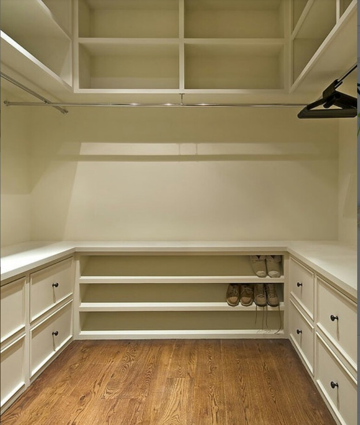 shoe rack, counter, built-in drawers--may need longer hanging rod on one side