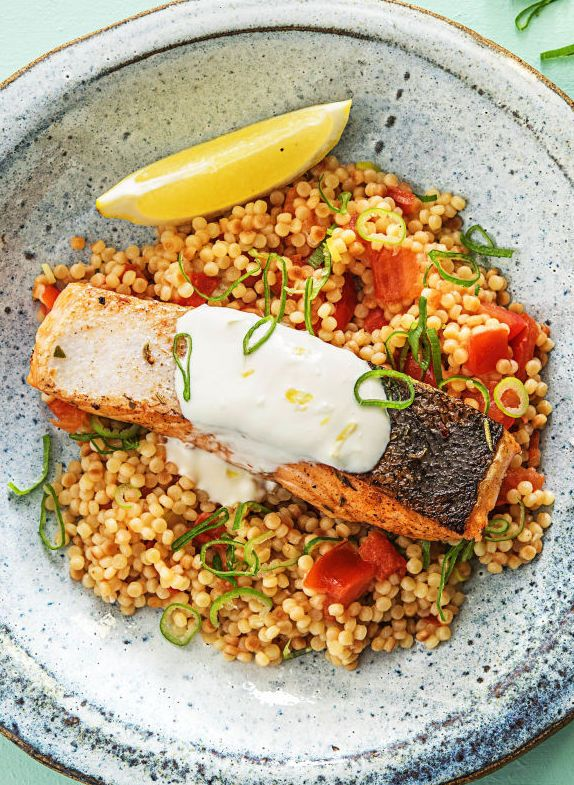 Creamy Lemon Salmon over Tomato Scallion Couscous | More easy and healthy seafood recipes on hellofresh.com