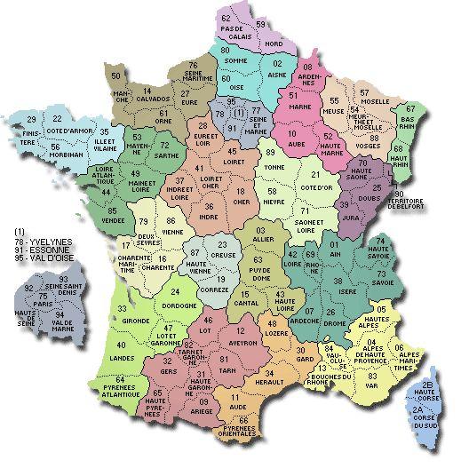 Carte des régions et départements Français