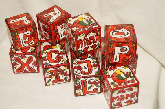 Англорусские деревянные расписные кубики от RussianStore на Etsy, $40.00
