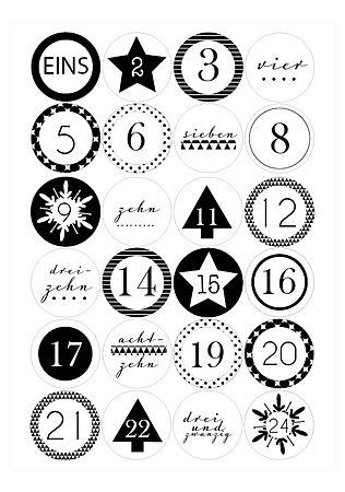 Free Printable Advent Calendar Numbers by http://www.minidrops.de/blog/printable-adventskalenderzahlen/