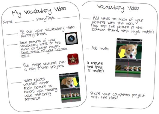 Planning Sheet and Student Directions for creating Vocabulary Videos on the iPad - http://www.technologytailgate.com/2012/07/vocabulary-videos.html