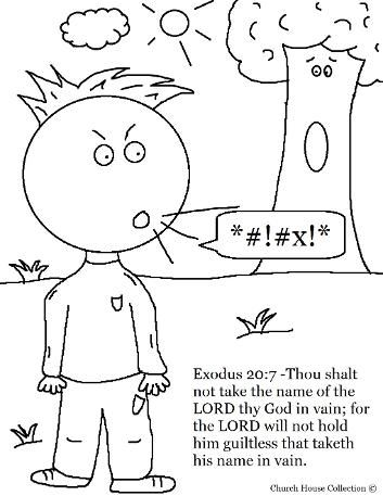 Ten Commandments Coloring Page For Third Commandment Thou Shalt Not Take The Lords Name In Vain Sheet Kids Sunday School Exodus