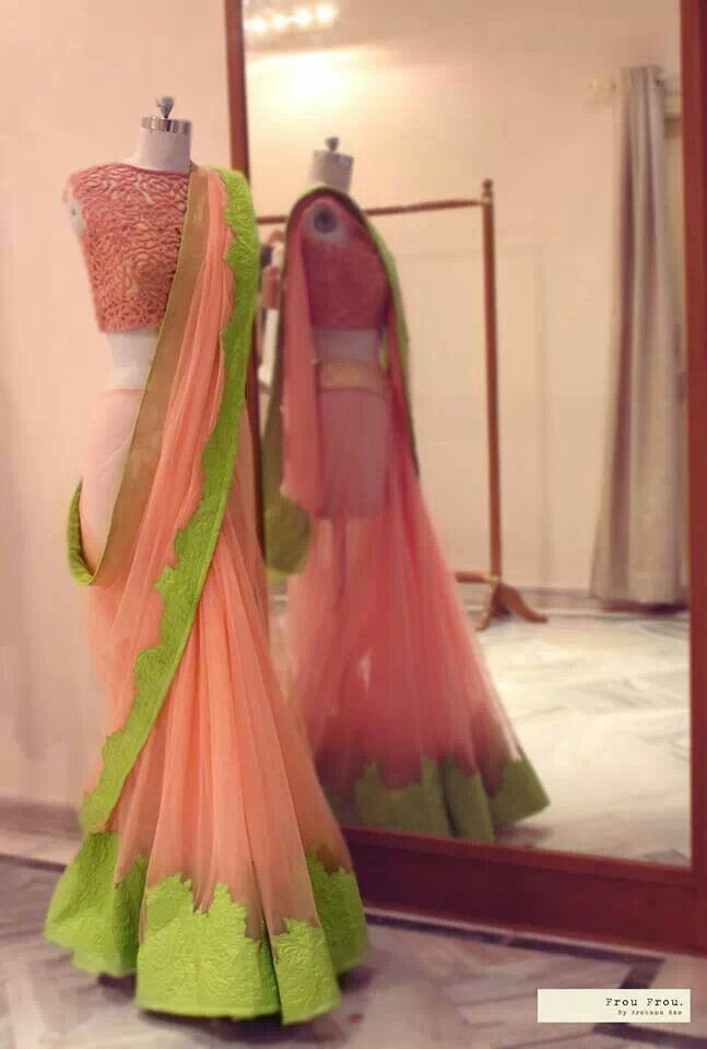 Baby pink and lime green #saree. thevogueoutlet.com
