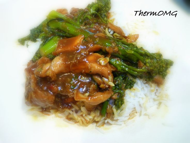 Thermomix Sticky Ginger Chicken + Broccolini