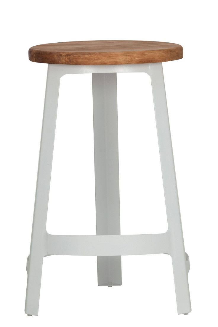 Sean Dix Factory Bar Stool Replica - White -- These kitchen counter height, replica Sean Dix bar stools are of a classic, tripod design but are given a funky edge with their powder coated steel frame, available in a range of frame colours with an organic wooden seat.