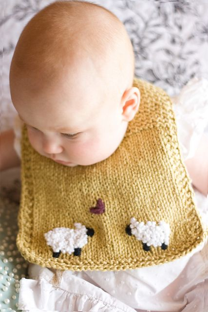 Love the #sheep on this knitted bib