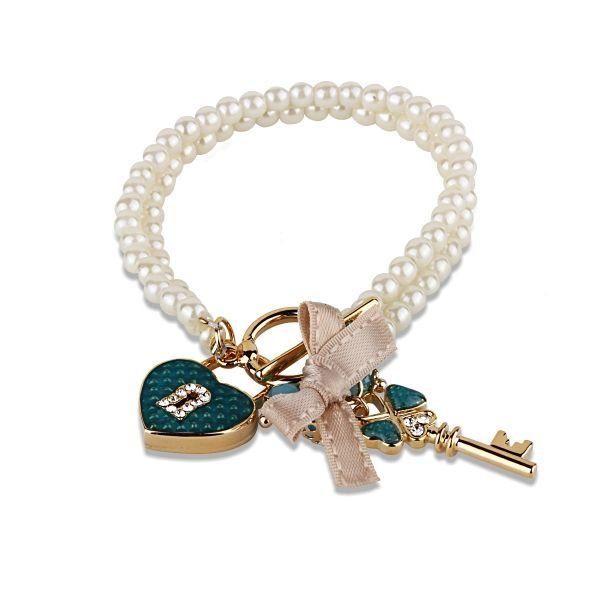 İncili Kilit Ve Anahtar Bileklik #bileklik #kalp #kilit #inci #pearl #moda #aksesuar #fashion #accessories #bracelet #woman