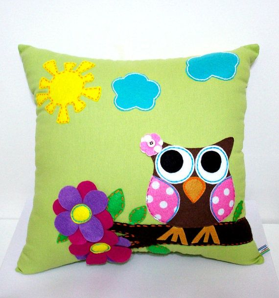 Owl Applique Pillow by LoungeAboutPillows on Etsy,
