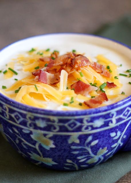 Baked Potato Soup {directions included for stove-top and crock-pot!} - get the…