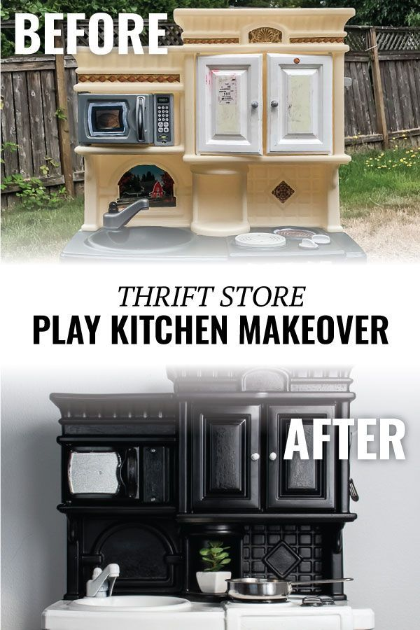 Before After Thrift Store Play Kitchen Makeover Kids Play