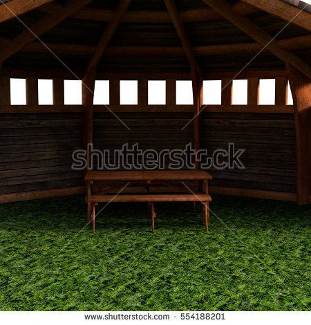 A view of the tent, garden house. A view inside. White background. 3D rendering, 3D illustration