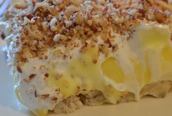 Lemon Delight-baked butter pecan crust, cream cheese-sugar & cool whip layer--instant lemon pudding layer--finish with cool whip.  I grew up eating this with chocolate pudding instead of lemon.  Yummy
