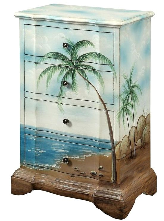 A dreamy little dresser, painted with a plamy beach scene. Art meets Function with Painted Art Furniture: http://beachblissliving.com/beach-art-on-furniture-painted-dresser-chest/