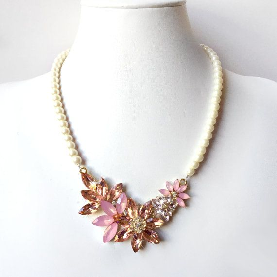 Blush Centerpiece Necklace Blush Ivory or White by GetNoticed
